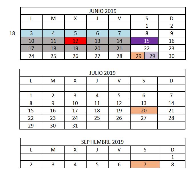 Junio, julio y septiembre