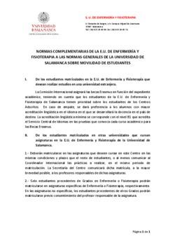 Normas complementarias de la E.U. de Enfermería y Fisioterapia