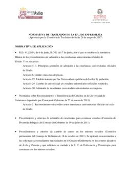 Normativa de traslados de la E.U. de Enfermería
